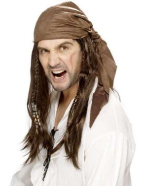 Mens Buccaneer Pirate Fancy Dress Wig